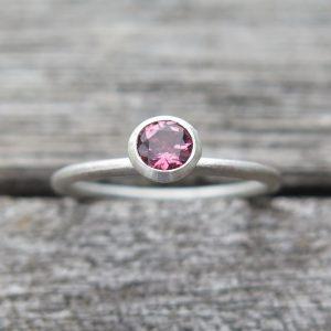 1 Stapelring 925 Silber mit rosa Turmalin