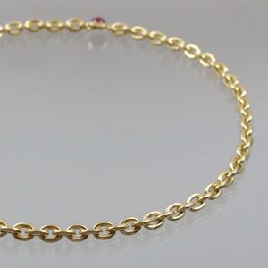 Collier Goldkette mit Rubin  750 Gold  63g