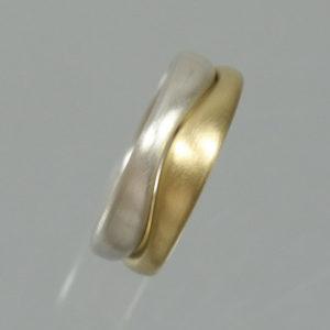 Wellenring 750 Gold 925 Silber kombiniert