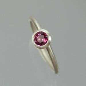 Stapelring 925 Silber mit rosa Turmalin