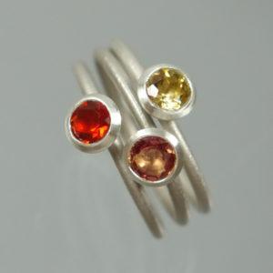 3 Stapelringe 925 Silber mit gelbem Citrin, orange Feueropal und Saphir