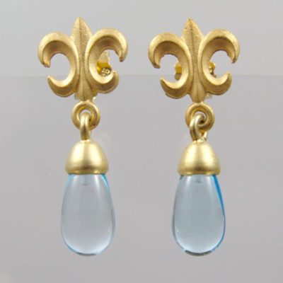 "Ohrringe Aquamarin Pampel  925 Silber vergoldet ""Fleur de Lys"""