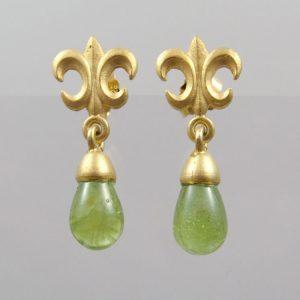 "Ohrringe Peridot Pampel  925 Silber vergoldet ""Fleur de Lys"""