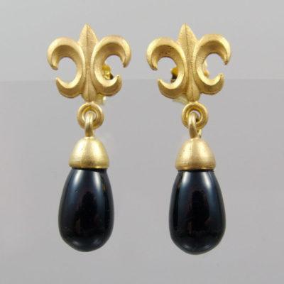 """Ohrringe Onyx Pampel  925 Silber vergoldet """"Fleur de Lys"""""""