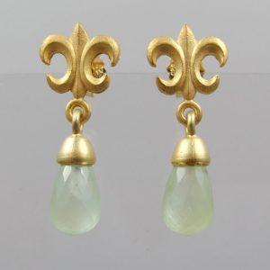"""Ohrringe Jade Nephrit Pampel  925 Silber vergoldet """"Fleur de Lys"""""""