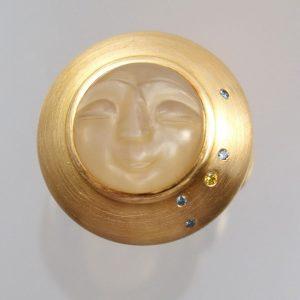 Goldring 900 Gold Mondsteingesicht bunte Brillanten