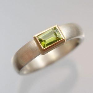 Peridotring 750 Gold 925 Silber Peridot Baguette