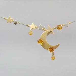 Sterncollier 960 Platin mit Citrin Sternen und Gelbgold u. Weißgold