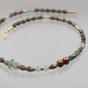 Collier Rauchquarz Aquamarin Turmalin Perlen 585 Gold  44cm