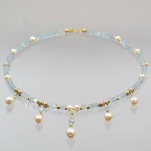 Collier Aquamarin mit Perlen 585 Gold  44cm