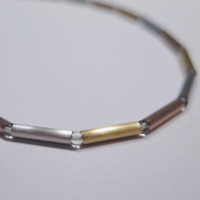Collier mit Bergkristall 585 3-farbig Gold