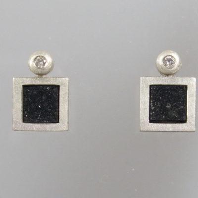 Ohrringe 925 Silber weiße Brillanten 0,04 ct River / lupenrein
