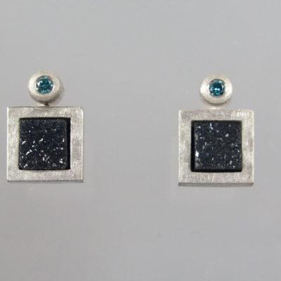 Ohrringe 925 Silber blaue Brillanten 0,04 ct