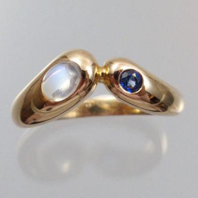 Mondsteinring 585 Gold mit Saphir
