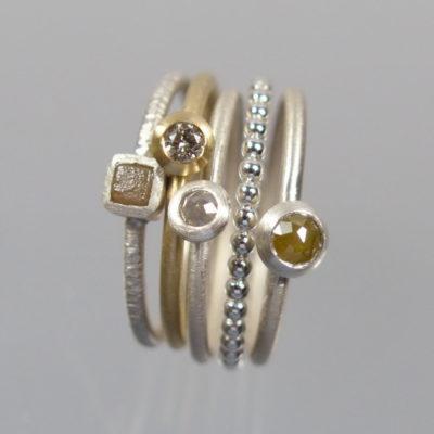 5 Stapelringe 750 Gold und 925 Silber mit Brillanten und Diamanten