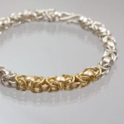 Armband Königskette  950 Gold  950 Silber