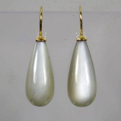 Ohrhänger 750 Gold  große graue Mondstein Pampeln