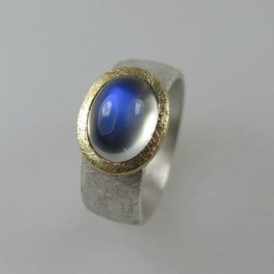 Ring 925 Silber und 750 Gold mit Mondstein