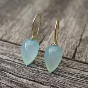 Ohrhänger 585 Gold mit blauen Chalcedon Birnen