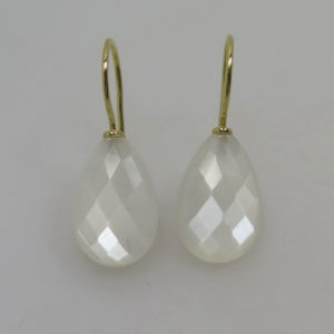 750 Gold Ohrhänger Ohrringe facettierten weißen Mondstein Briolett