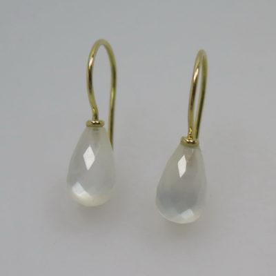750 Gold Ohrhänger Ohrringe weißen Mondstein Pampel