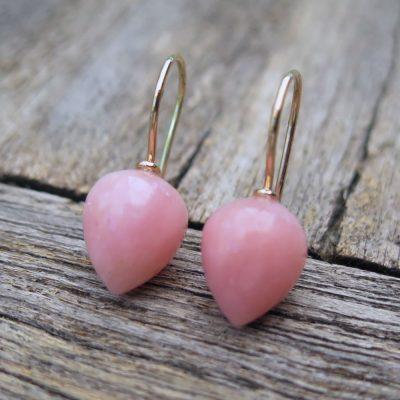 585 Gold Ohrhänger Ohrringe rosa Opal Birne Pampel