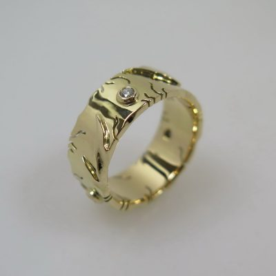 Ring 585 Gold mit 3 Brillanten á 0,03 ct  Unikat