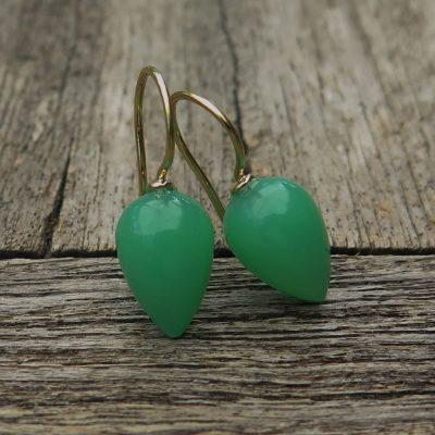 750 Gold Ohrhänger Ohrringe grüne Quarz Birne