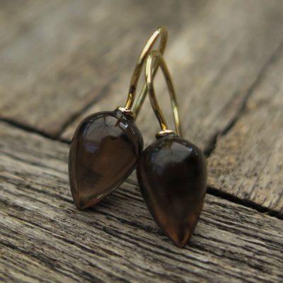 750 Gold Ohrhänger Ohrringe Rauchquarz Pampel Birne Tropfen