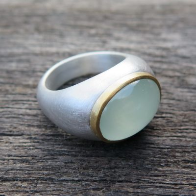 big BonBon Ring aus 925/- Silber und Feingold mit Aquamarin