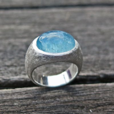 big BonBon Ring aus 1000/- Feinsilber mit Aquamarin