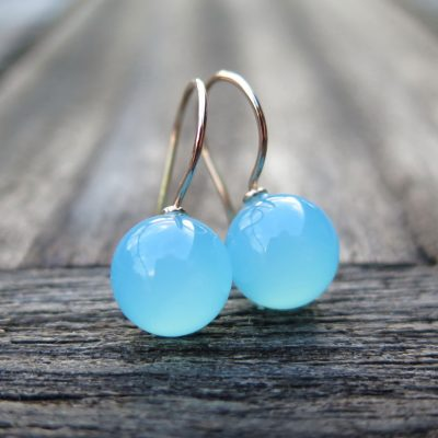 """585 Gold Ohrhänger Ohrringe Chalcedon Kugel """"sea blue"""""""