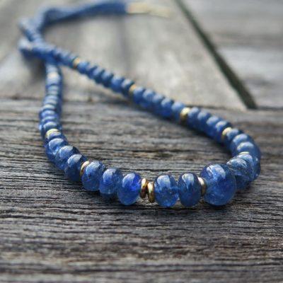 Blaues Safir Collier mit 585/- Gold