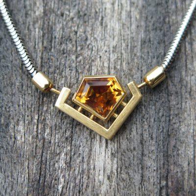 Citrin Collier Kette 585 Gelbgold u. 925 Silber