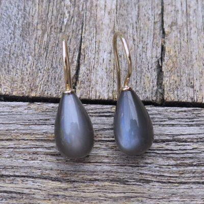 585 Ohrringe mit grauen Mondstein Pampel Tropfen