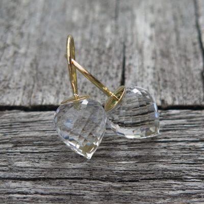 750 Gold Ohrhänger Ohrringe Bergkristall Pampel