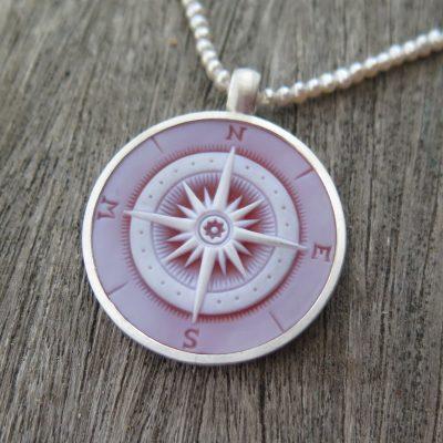 Fernweh Anhänger mit Kompass Gemme 925 Silber