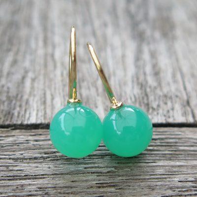 750 Gold Ohrringe grüner Crysopras Kugel