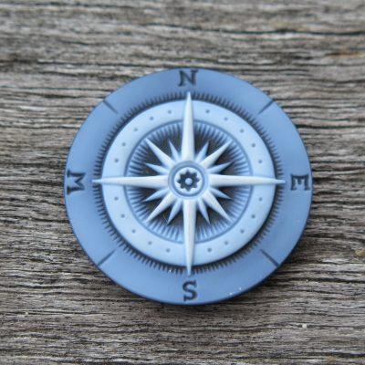 Kompass Gemme blau Ø 30 mm