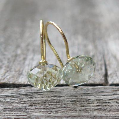 süße 750 Gold Ohrringe Prasiolith Zwiebel