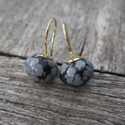 585 Gold Ohrringe Schneeflocken Obsidian Zwiebel