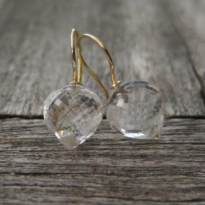 585 Gold Ohrhänger Bergkristall Zwiebel