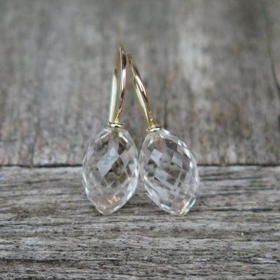 585 Gold Ohrhänger Bergkristall Kerze