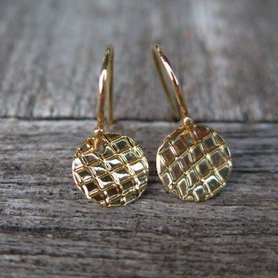 750 Gold Ohrhänger Struktur Ohrringe glänzend