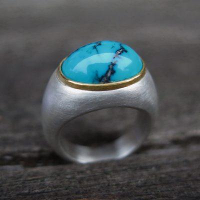 big BonBon Ring aus 925/- Silber und Feingold mit Türkis