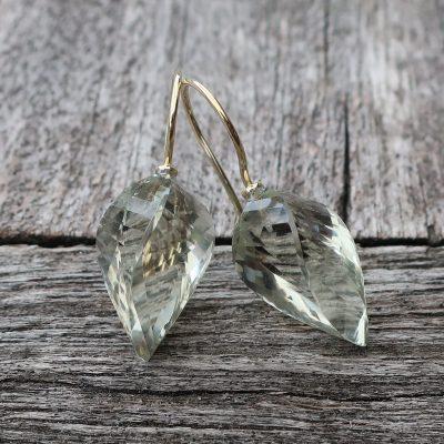 750 Gold Ohrringe Prasiolith Fantasieschliff