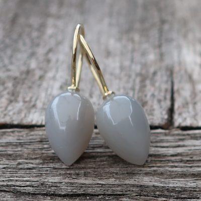 585 Gold Ohrringe mit grauen Mondstein Pendeln