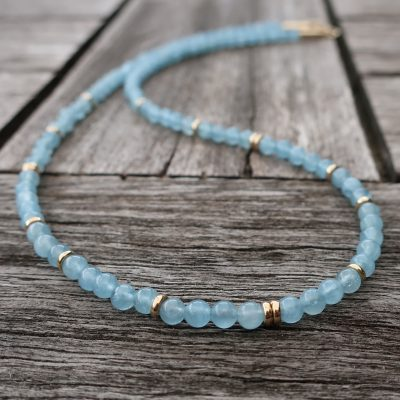 Aquamarin Collier mit 585 Gold