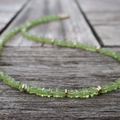 Peridot Collier mit 585 Gold